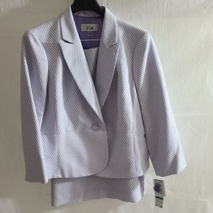 Le Suit lilac/white two tone tweed skirt suit